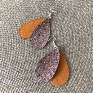 Rain drop glittered earrings